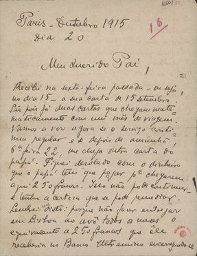 [Carta, 1915 out. 20, Paris a Carlos de Sá Carneiro] / Mario
