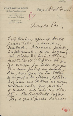 [Carta, 1915 out. 28, Paris a Carlos de Sá Carneiro] / Mario